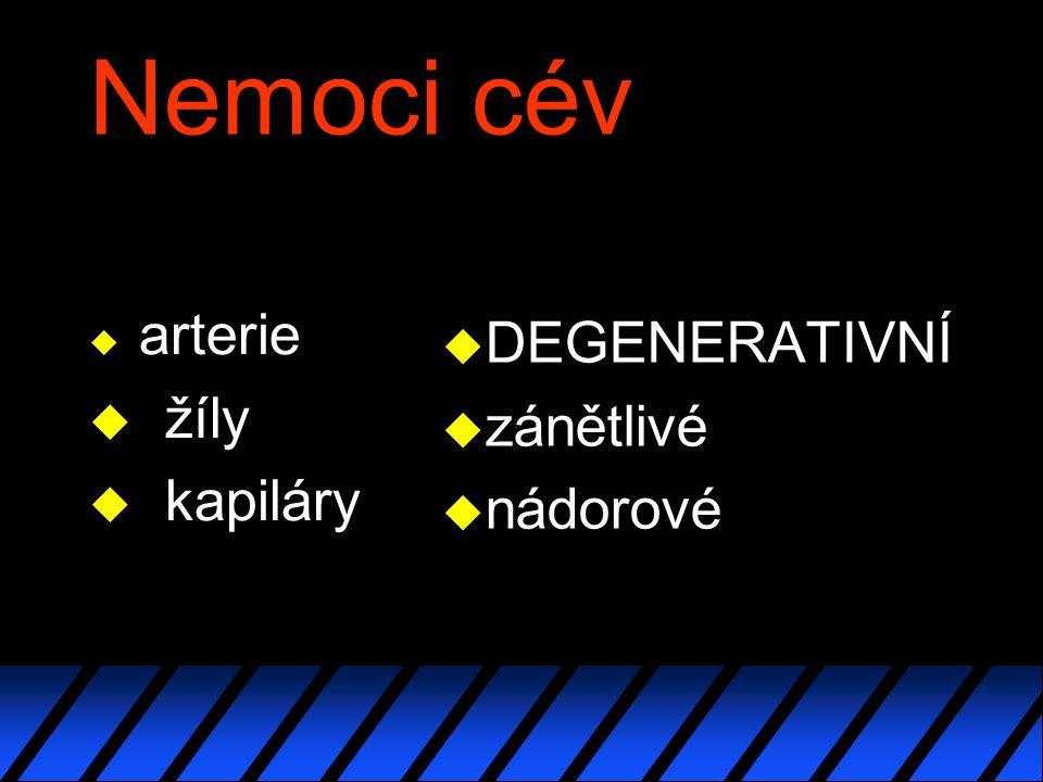 Nemoci cév arterie žíly kapiláry DEGENERATIVNÍ zánětlivé nádorové