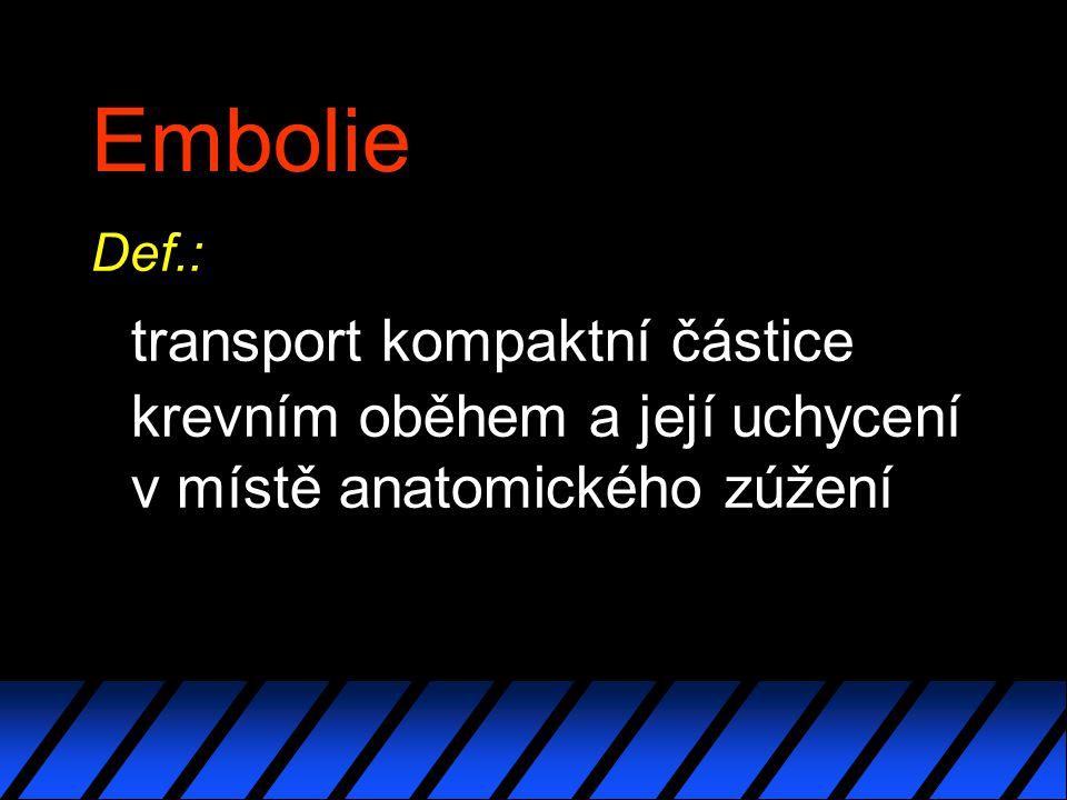 Embolie Def.: transport kompaktní částice krevním oběhem a její uchycení v místě anatomického zúžení.