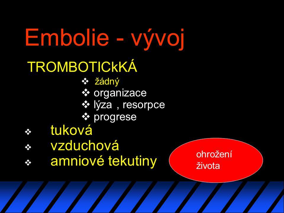 Embolie - vývoj tuková vzduchová amniové tekutiny TROMBOTICkKÁ