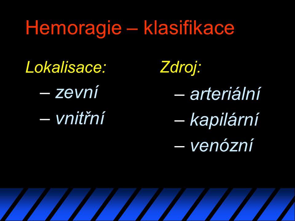 Hemoragie – klasifikace