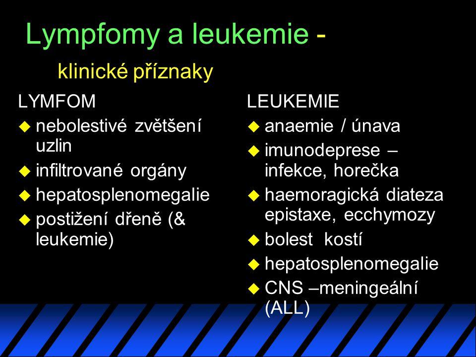 Lympfomy a leukemie - klinické příznaky