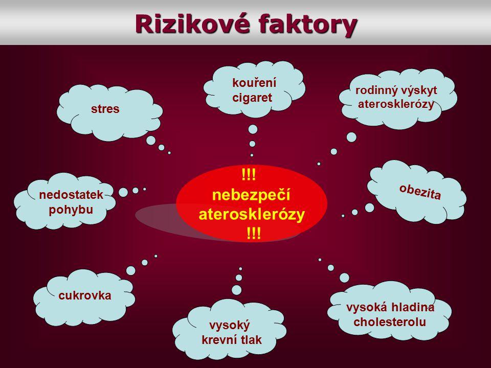Rizikové faktory !!! nebezpečí aterosklerózy kouření cigaret stres