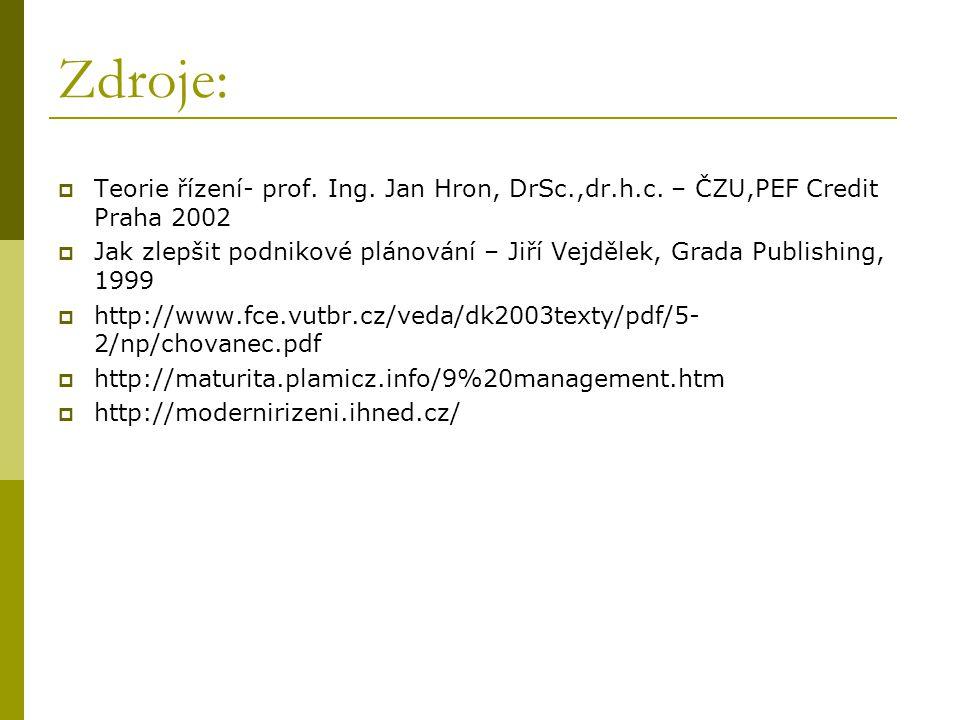 Zdroje: Teorie řízení- prof. Ing. Jan Hron, DrSc.,dr.h.c. – ČZU,PEF Credit Praha 2002.