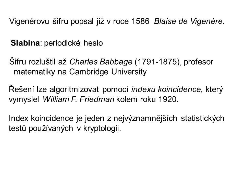 Vigenérovu šifru popsal již v roce 1586 Blaise de Vigenére.