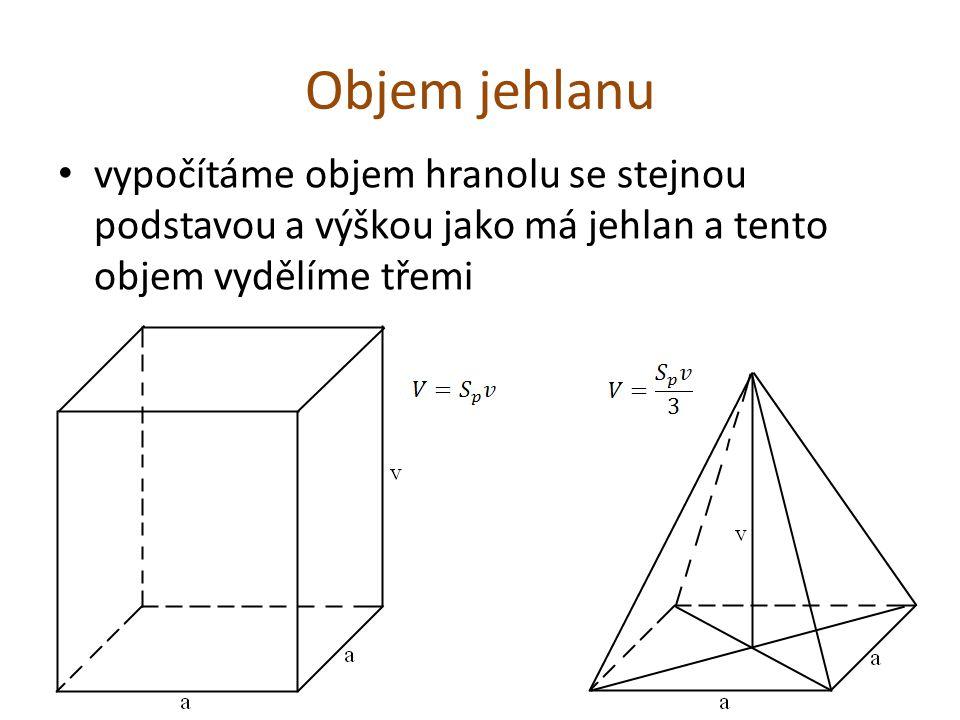 Objem jehlanu vypočítáme objem hranolu se stejnou podstavou a výškou jako má jehlan a tento objem vydělíme třemi.