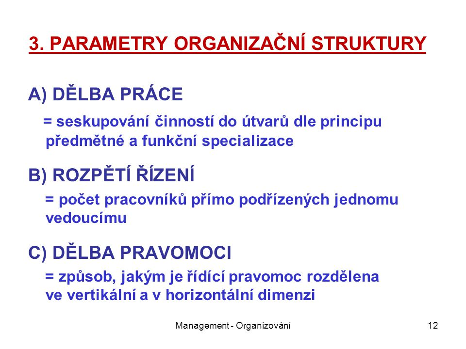 3. PARAMETRY ORGANIZAČNÍ STRUKTURY