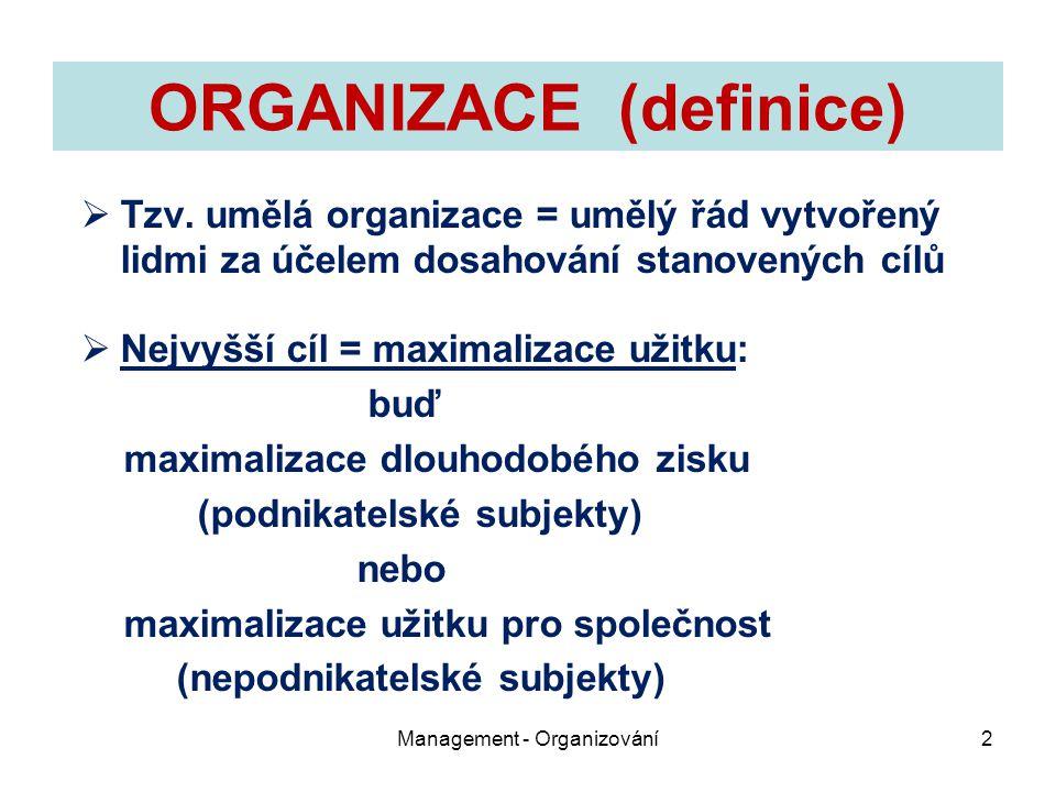 ORGANIZACE (definice)