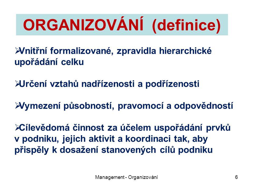 ORGANIZOVÁNÍ (definice)