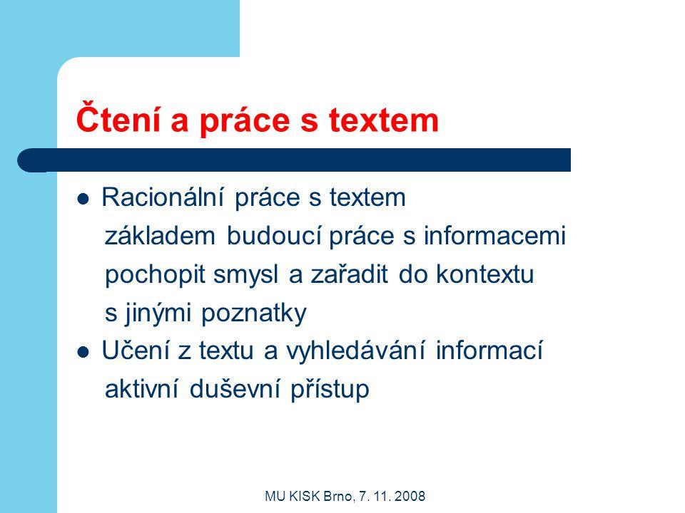 Čtení a práce s textem Racionální práce s textem