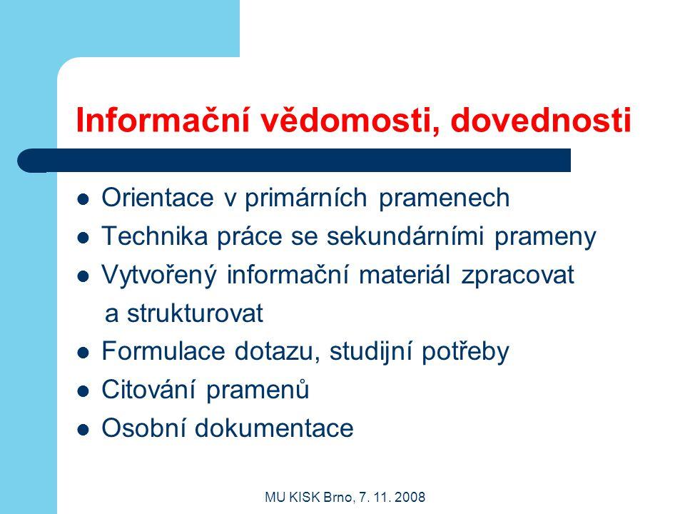Informační vědomosti, dovednosti