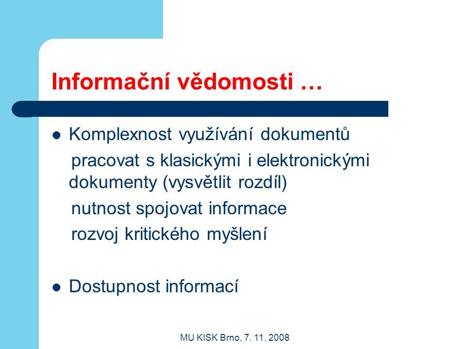 Informační vědomosti …