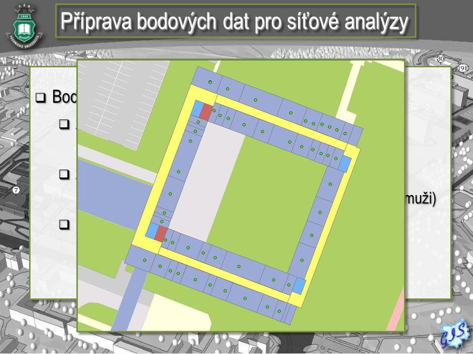 Příprava bodových dat pro síťové analýzy