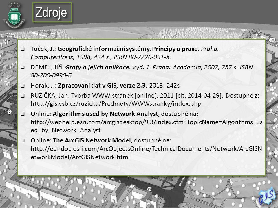 Zdroje Tuček, J.: Geografické informační systémy. Principy a praxe. Praha, ComputerPress, 1998, 424 s., ISBN 80-7226-091-X.