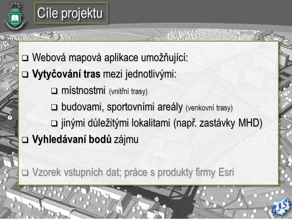 Cíle projektu Webová mapová aplikace umožňující: