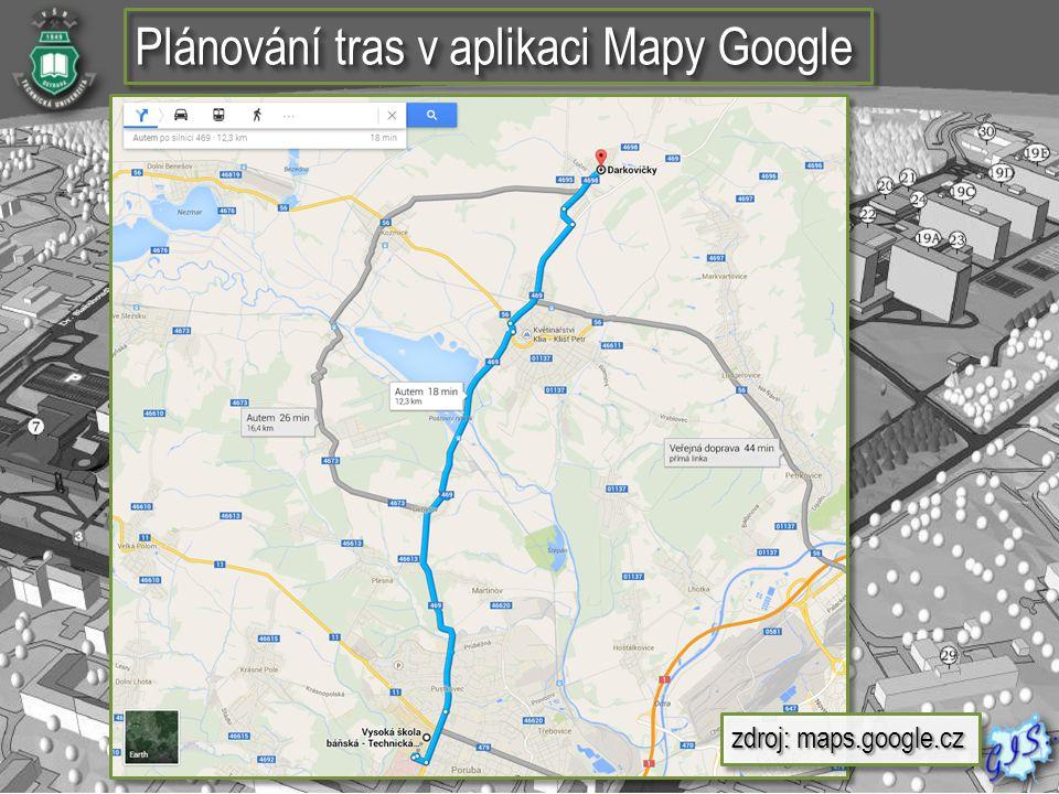Plánování tras v aplikaci Mapy Google
