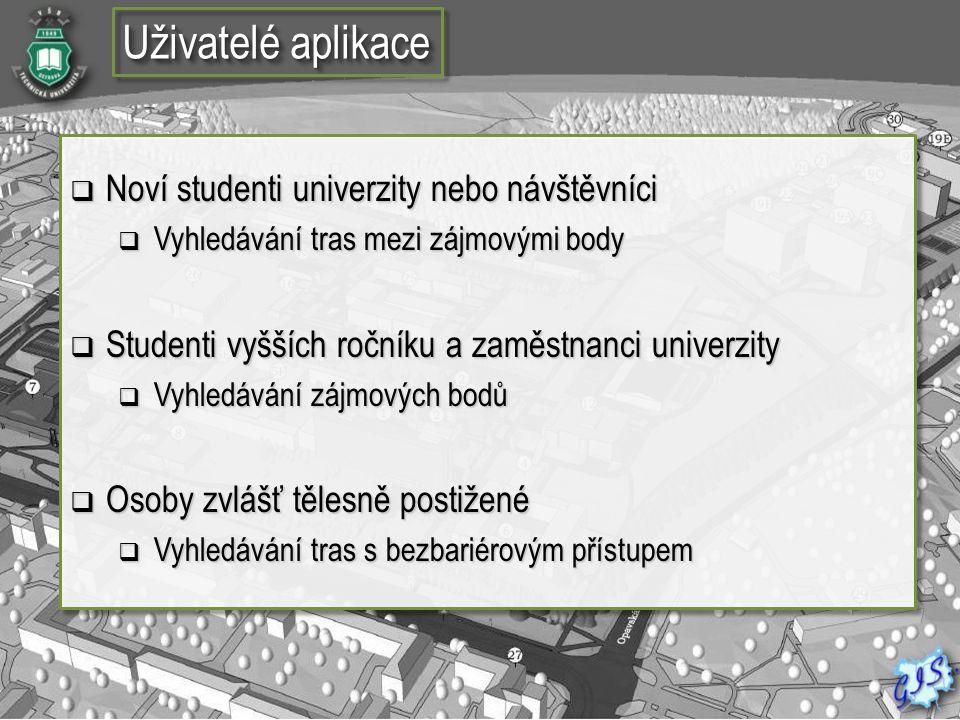 Uživatelé aplikace Noví studenti univerzity nebo návštěvníci