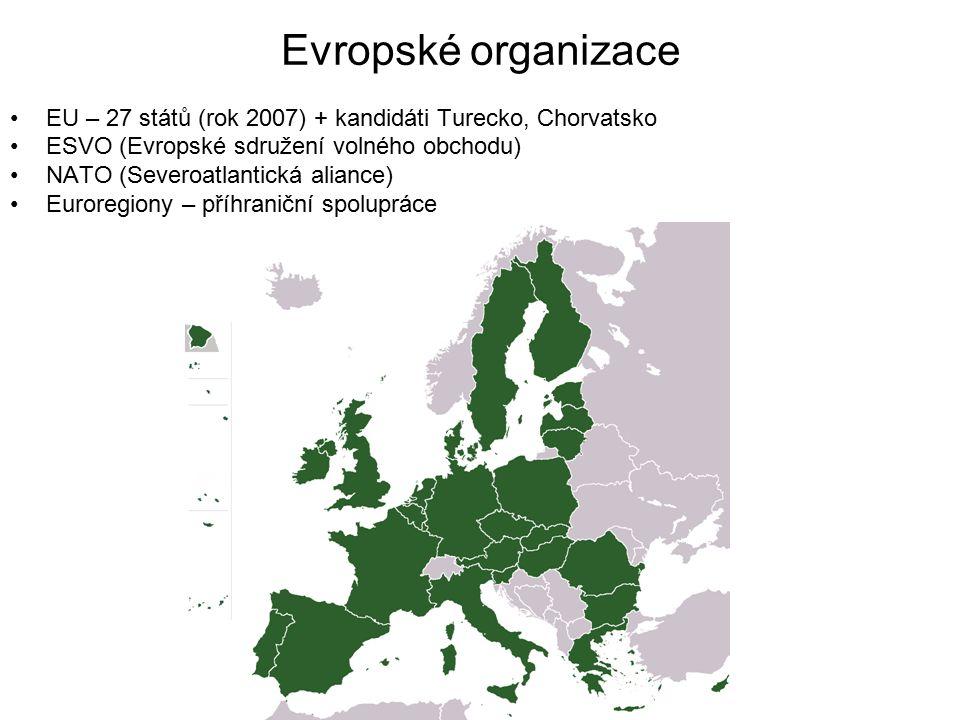 Evropské organizace EU – 27 států (rok 2007) + kandidáti Turecko, Chorvatsko. ESVO (Evropské sdružení volného obchodu)