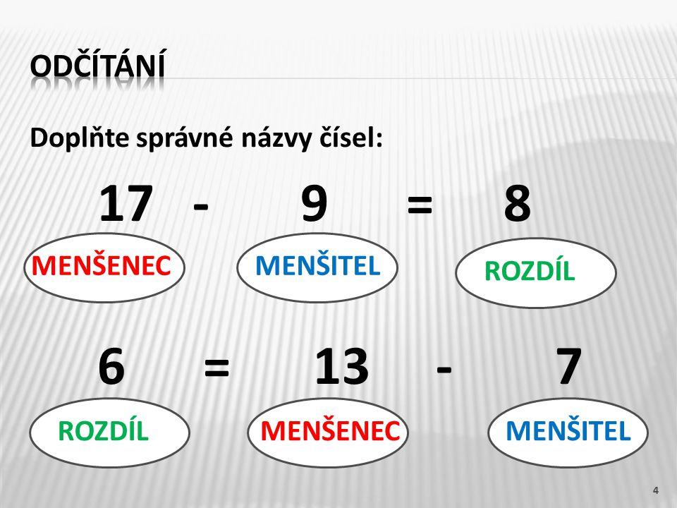 17 - 9 = 8 6 = 13 - 7 odčítání Doplňte správné názvy čísel: MENŠENEC