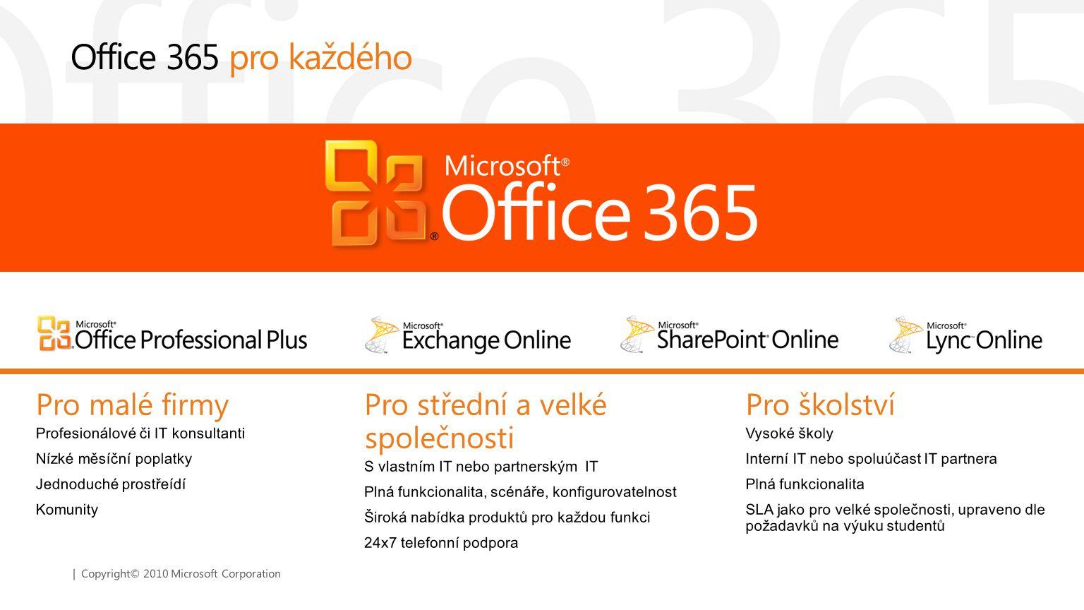 Office 365 pro každého Pro malé firmy Pro střední a velké společnosti