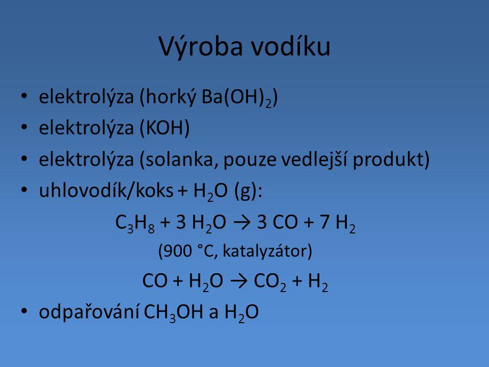 Výroba vodíku elektrolýza (horký Ba(OH)2) elektrolýza (KOH)