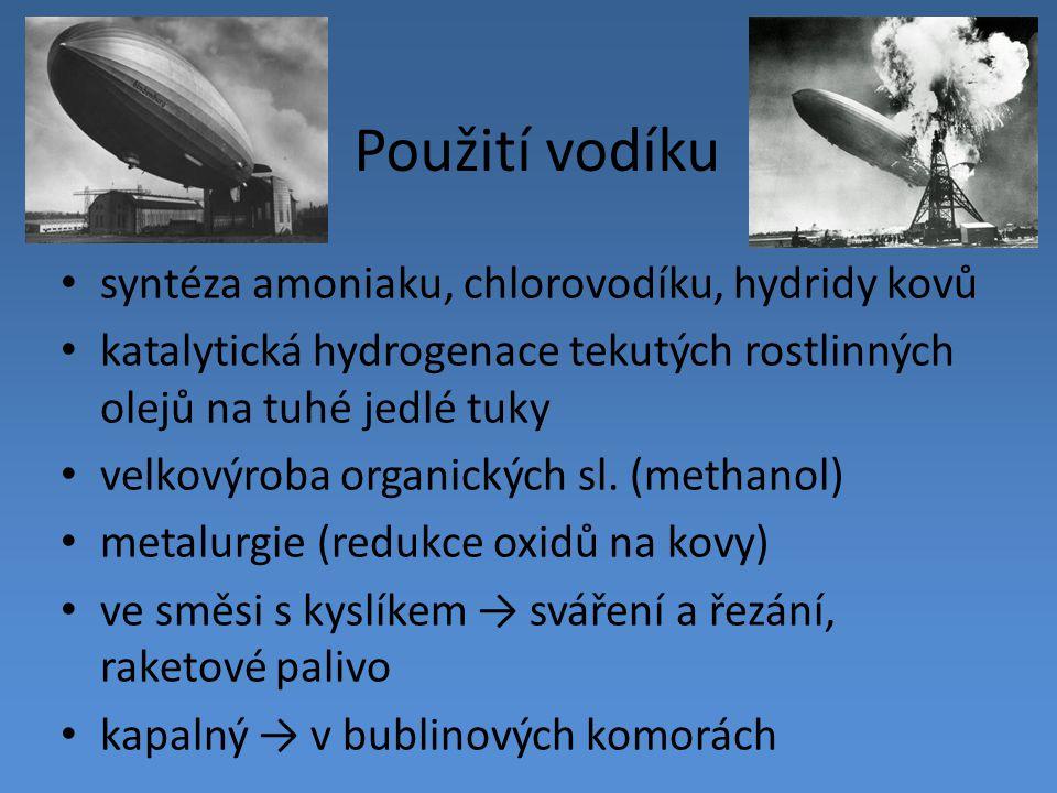 Použití vodíku syntéza amoniaku, chlorovodíku, hydridy kovů