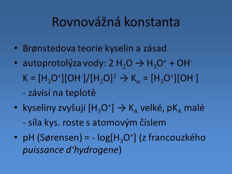 Rovnovážná konstanta Brønstedova teorie kyselin a zásad