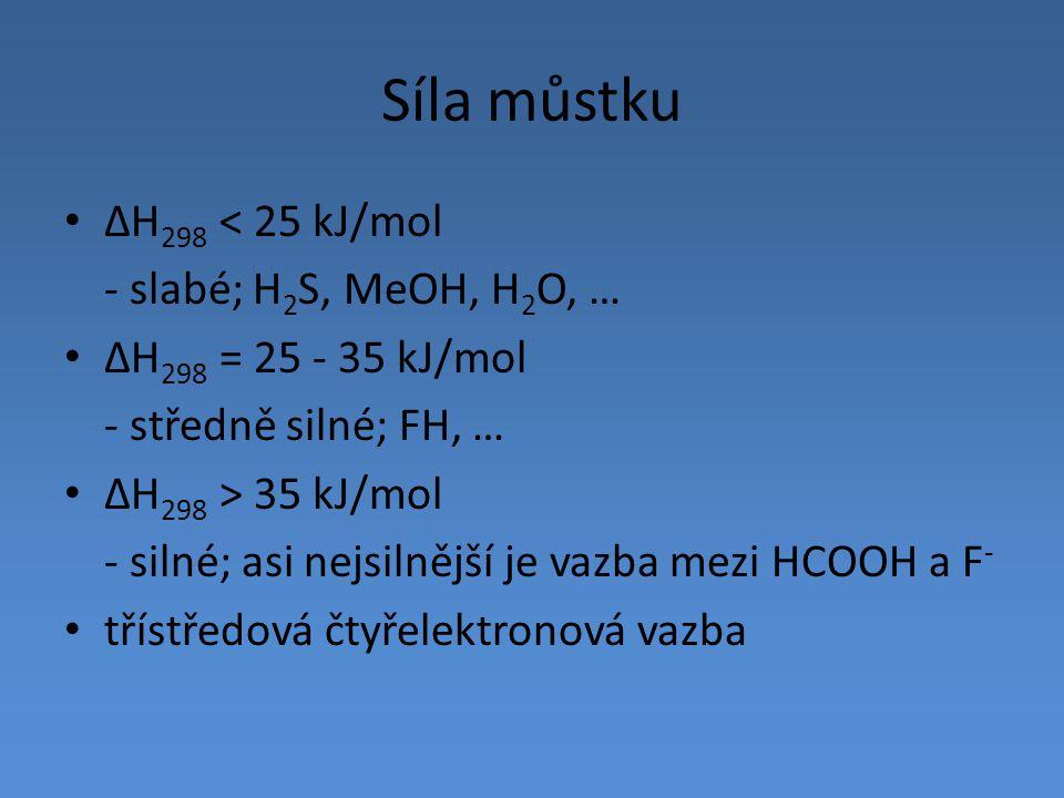 Síla můstku ΔH298 < 25 kJ/mol - slabé; H2S, MeOH, H2O, …