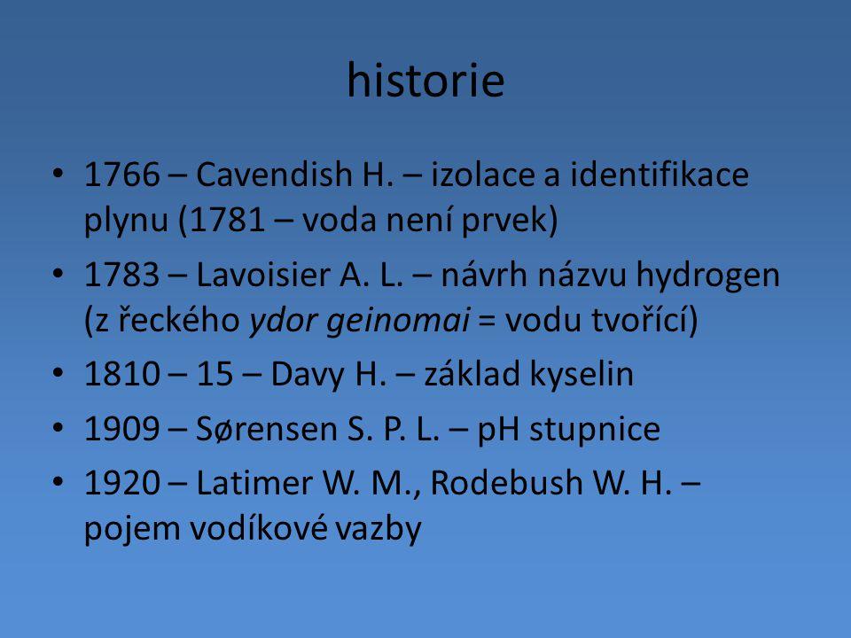 historie 1766 – Cavendish H. – izolace a identifikace plynu (1781 – voda není prvek)