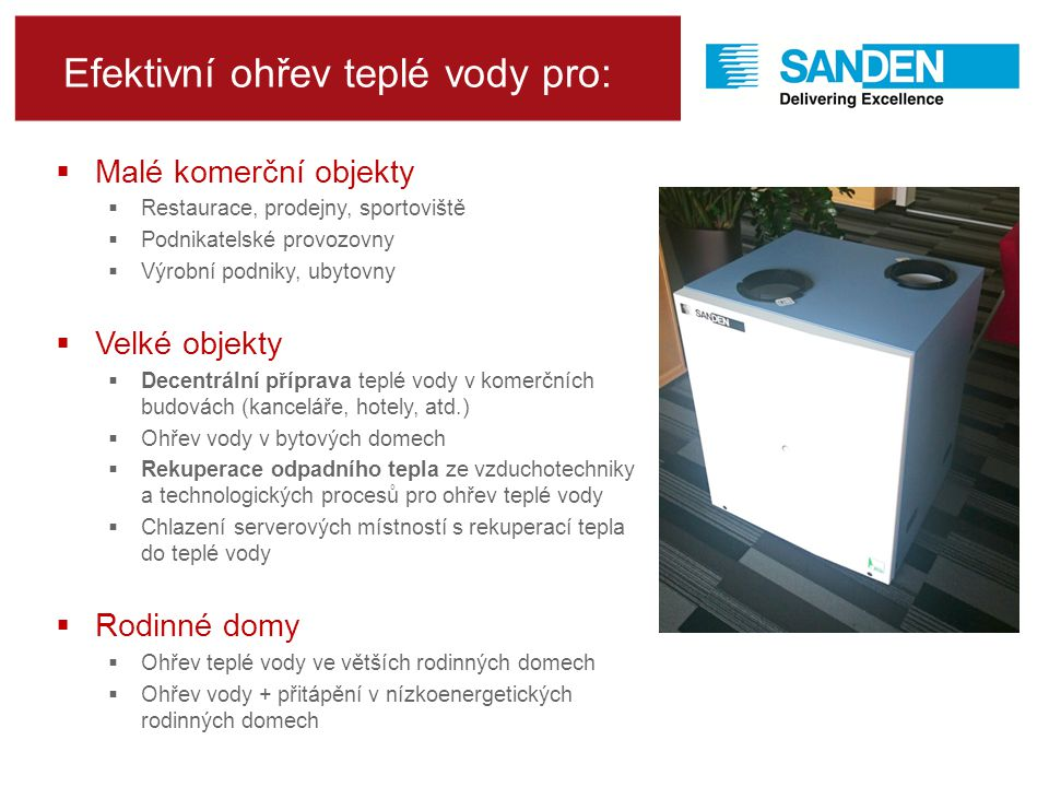 Efektivní ohřev teplé vody pro: