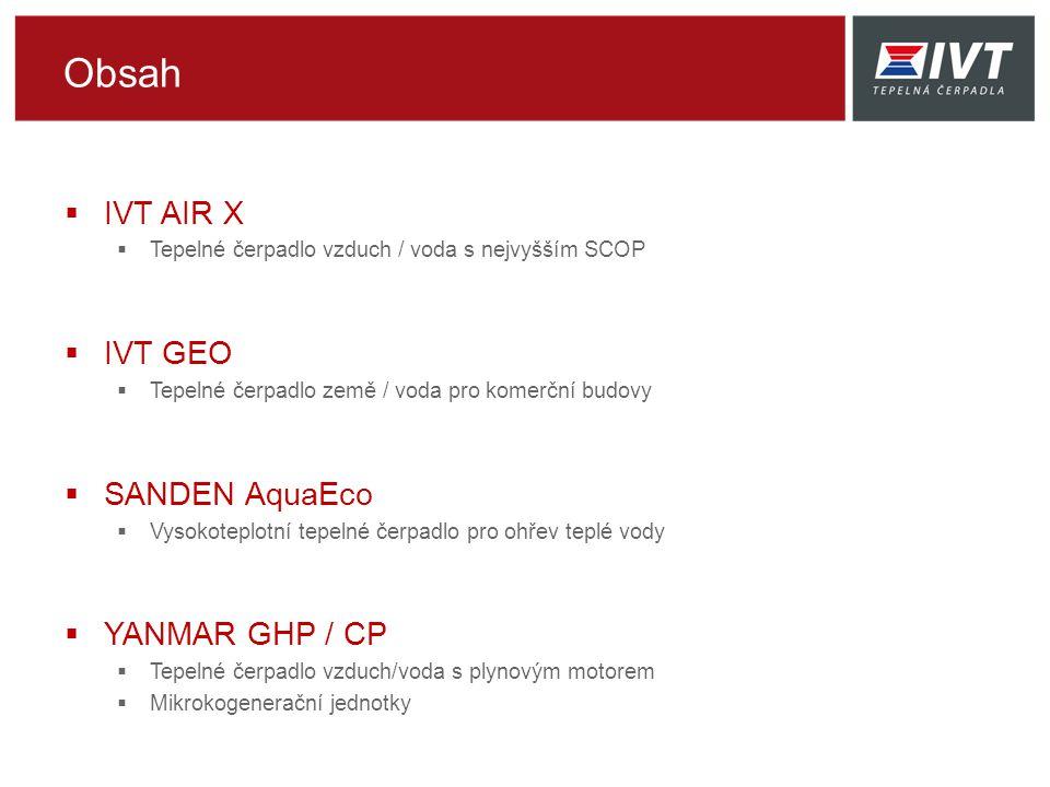Obsah IVT AIR X IVT GEO SANDEN AquaEco YANMAR GHP / CP