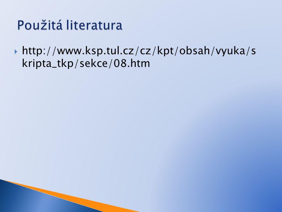 Použitá literatura http://www.ksp.tul.cz/cz/kpt/obsah/vyuka/s kripta_tkp/sekce/08.htm