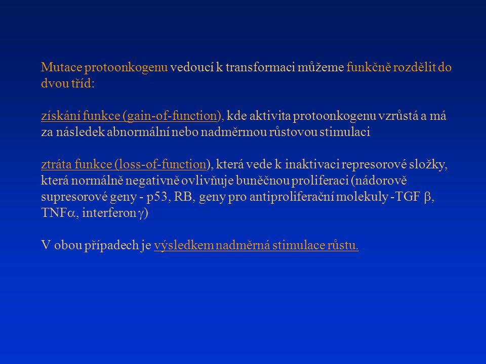 Mutace protoonkogenu vedoucí k transformaci můžeme funkčně rozdělit do dvou tříd: