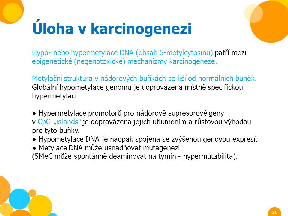 Úloha v karcinogenezi Hypo- nebo hypermetylace DNA (obsah 5-metylcytosinu) patří mezi epigenetické (negenotoxické) mechanizmy karcinogeneze.