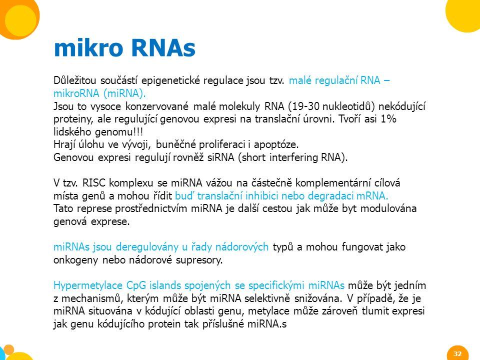 mikro RNAs Důležitou součástí epigenetické regulace jsou tzv. malé regulační RNA – mikroRNA (miRNA).