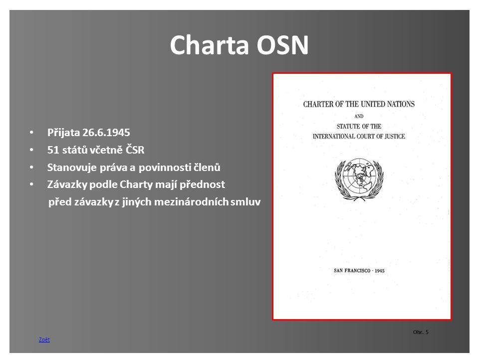 Charta OSN Přijata 26.6.1945 51 států včetně ČSR