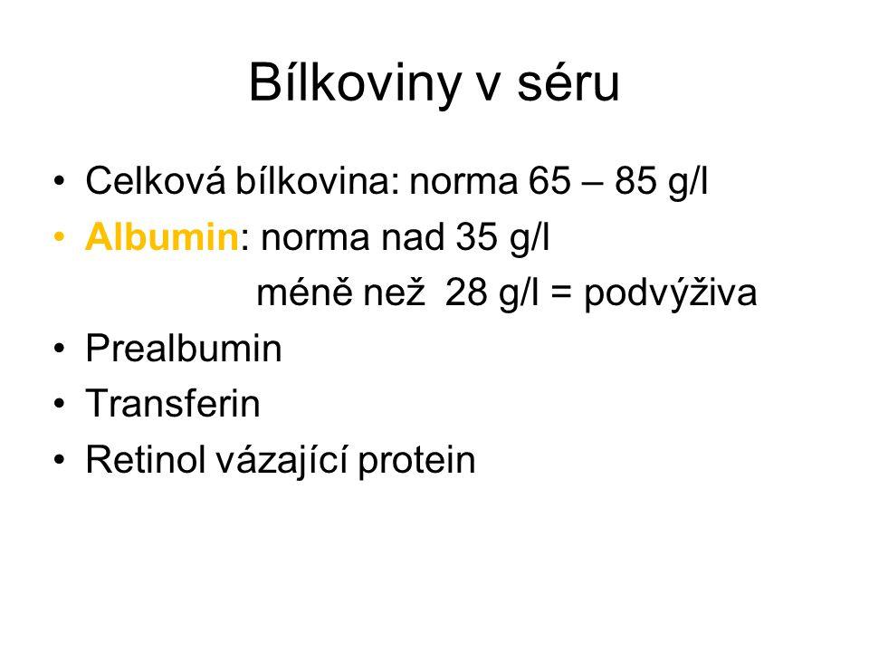 Bílkoviny v séru Celková bílkovina: norma 65 – 85 g/l