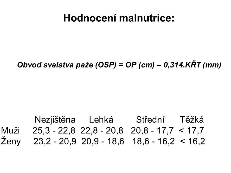 Hodnocení malnutrice: Obvod svalstva paže (OSP) = OP (cm) – 0,314