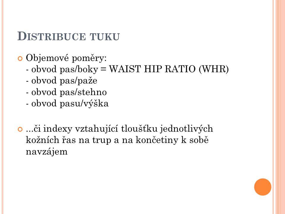 Distribuce tuku Objemové poměry: - obvod pas/boky = WAIST HIP RATIO (WHR) - obvod pas/paže - obvod pas/stehno - obvod pasu/výška.