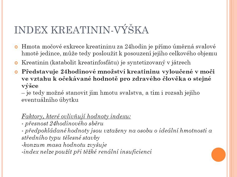 INDEX KREATININ-VÝŠKA