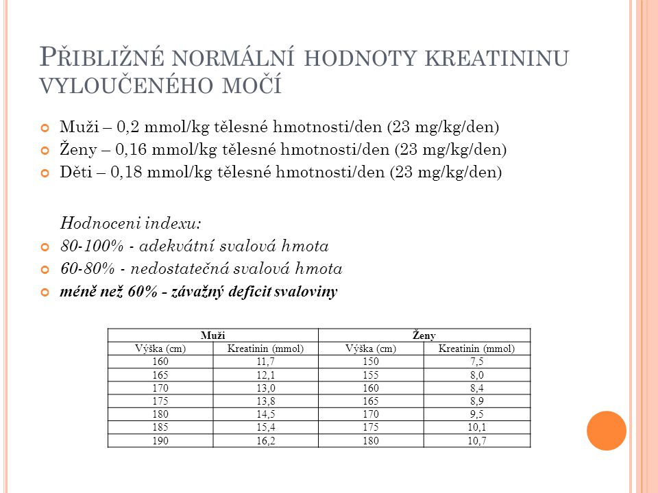 Přibližné normální hodnoty kreatininu vyloučeného močí