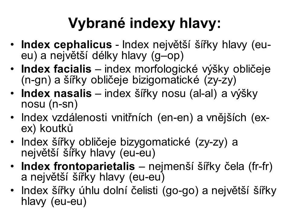 Vybrané indexy hlavy: Index cephalicus - Index největší šířky hlavy (eu-eu) a největší délky hlavy (g–op)