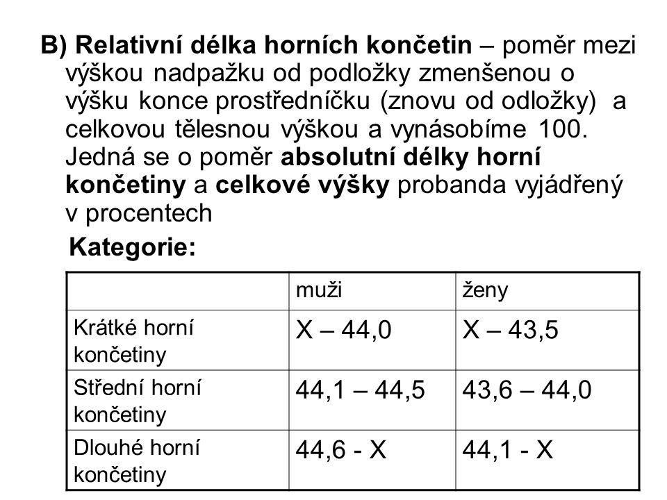 B) Relativní délka horních končetin – poměr mezi výškou nadpažku od podložky zmenšenou o výšku konce prostředníčku (znovu od odložky) a celkovou tělesnou výškou a vynásobíme 100. Jedná se o poměr absolutní délky horní končetiny a celkové výšky probanda vyjádřený v procentech