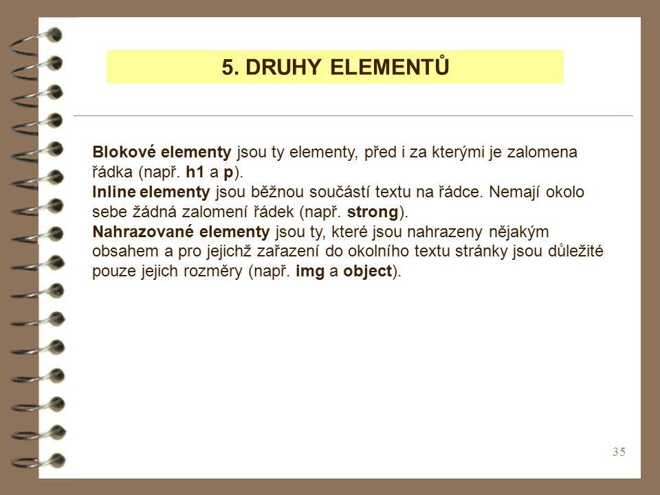 5. DRUHY ELEMENTŮ Blokové elementy jsou ty elementy, před i za kterými je zalomena řádka (např. h1 a p).