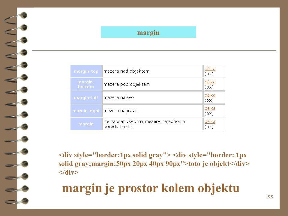 margin je prostor kolem objektu