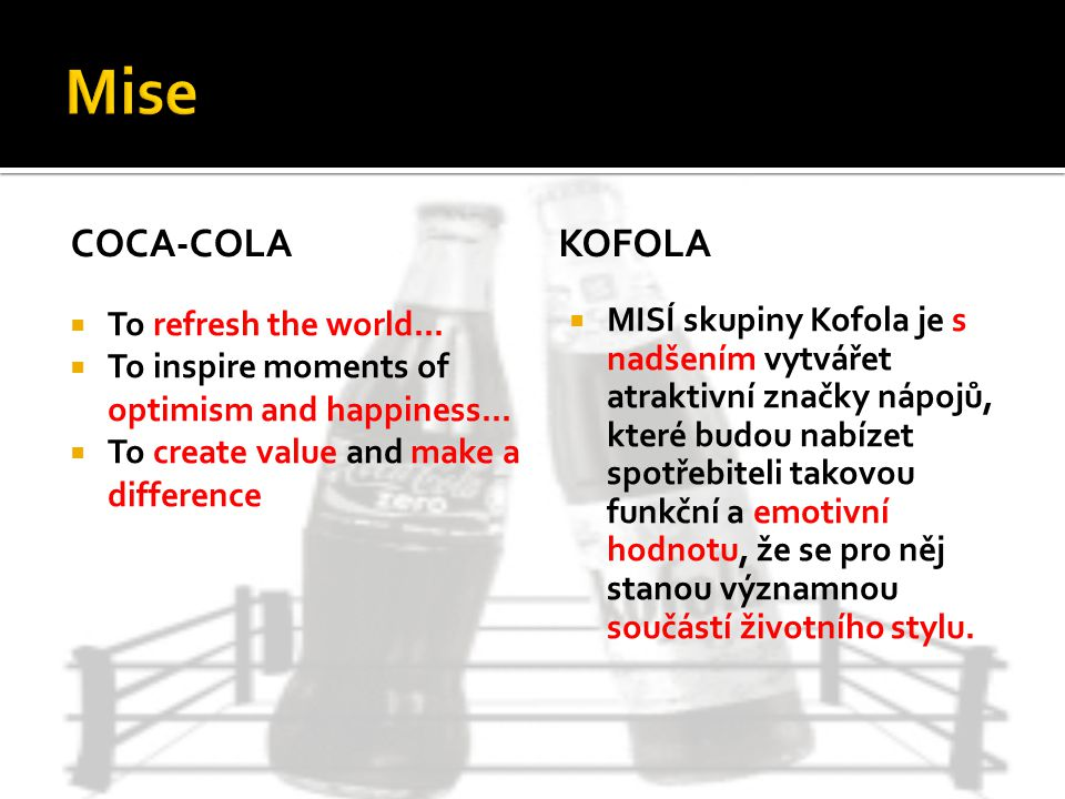 Mise Coca-cola Kofola To refresh the world...
