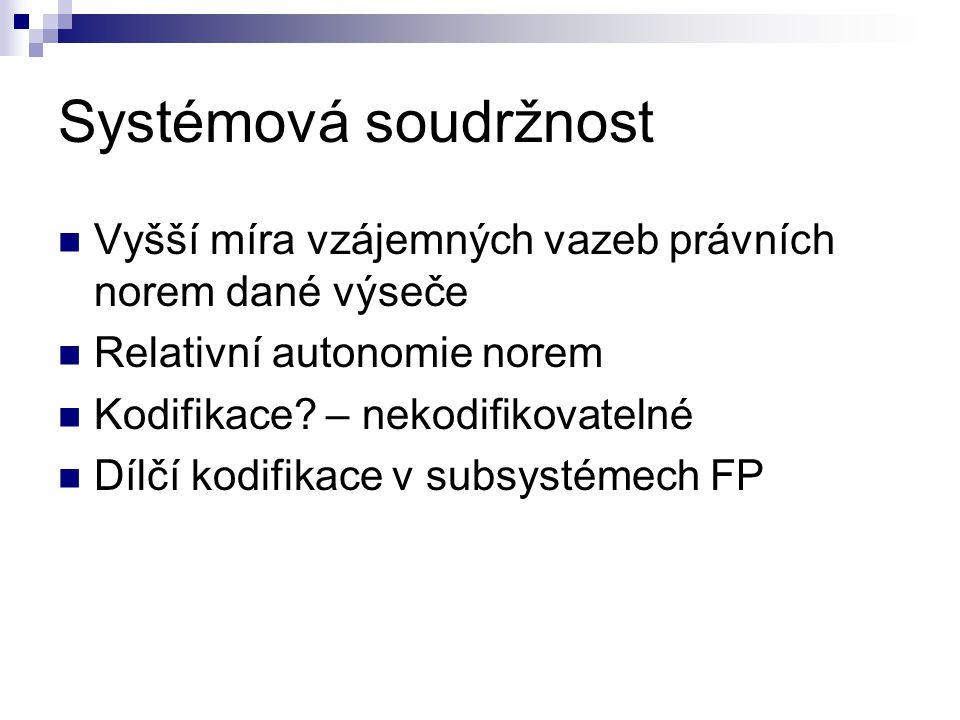 Systémová soudržnost Vyšší míra vzájemných vazeb právních norem dané výseče. Relativní autonomie norem.