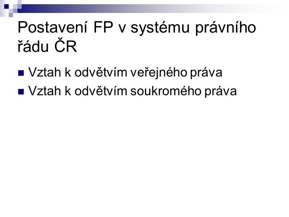 Postavení FP v systému právního řádu ČR