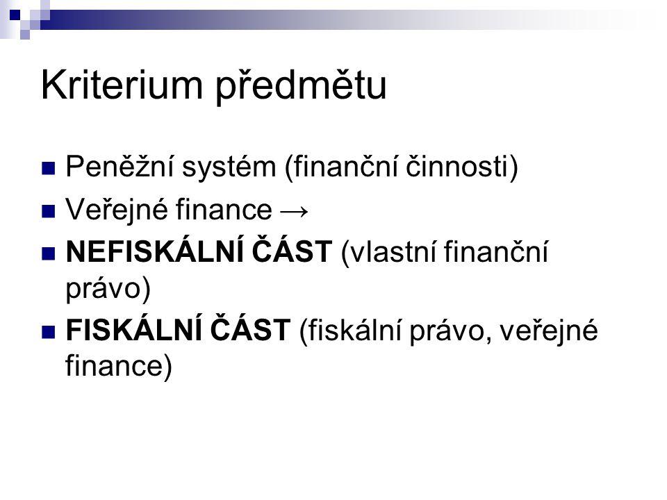 Kriterium předmětu Peněžní systém (finanční činnosti)