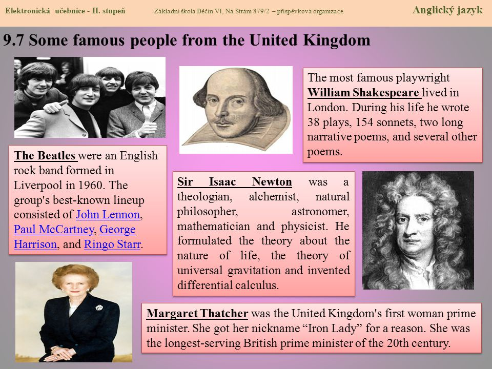 9.7 Some famous people from the United Kingdom
