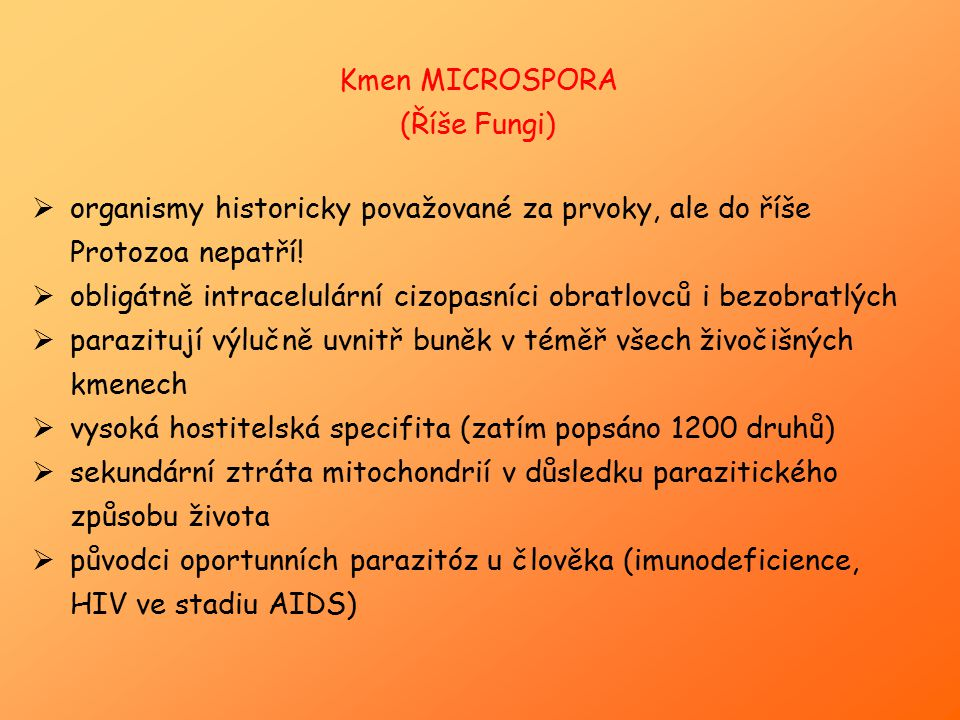 Kmen MICROSPORA (Říše Fungi) organismy historicky považované za prvoky, ale do říše Protozoa nepatří!